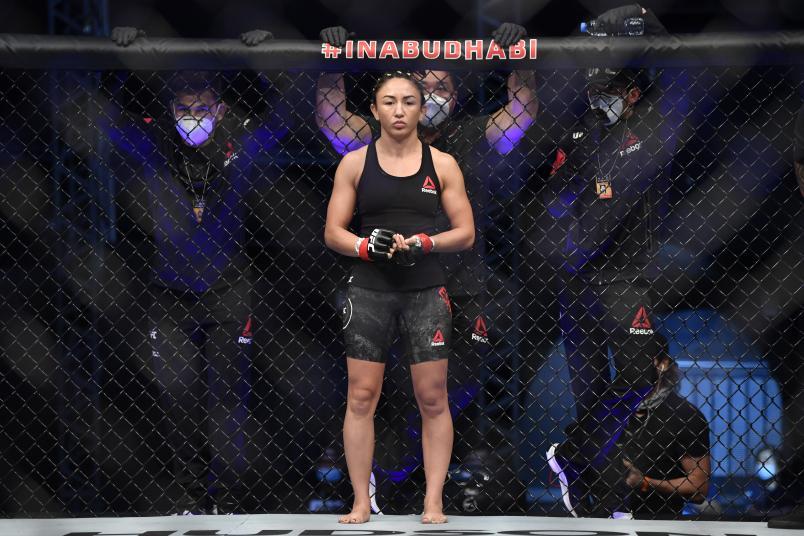 Carla Esparza prepares to fight Marina Rodriguez of Brazil in their strawweight fight during the UFC Fight Night event inside Flash Forum on UFC Fight Island on July 26, 2020 in Yas Island, Abu Dhabi, United Arab Emirates. (Photo by Jeff Bottari/Zuffa LLC)