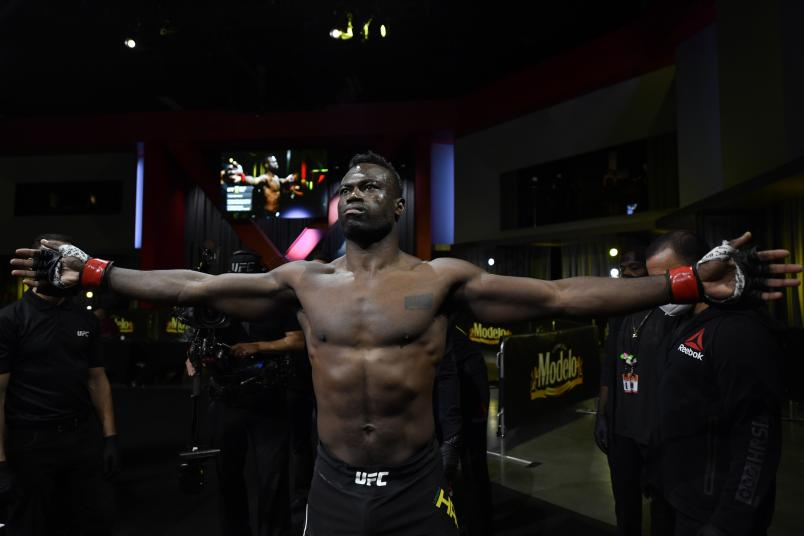 Uriah Hall of Jamaica prepares to fight Anderson Silva in a middleweight bout during the UFC Fight Night event at UFC APEX on October 31, 2020 in Las Vegas, Nevada. (Photo by Jeff Bottari/Zuffa LLC)