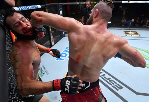 Jiri Prochazka of the Czech Republic knocks out Dominick Reyes in a light heavyweight bout during the UFC Fight Night event at UFC APEX on May 01, 2021 in Las Vegas, Nevada. (Photo by Jeff Bottari/Zuffa LLC)