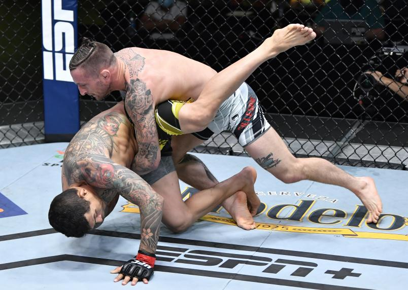 Gregor Gillespie takes down Diego Ferreira of Brazil in a lightweight fight during the UFC Fight Night event at UFC APEX on May 08, 2021 in Las Vegas, Nevada. (Photo by Chris Unger/Zuffa LLC)