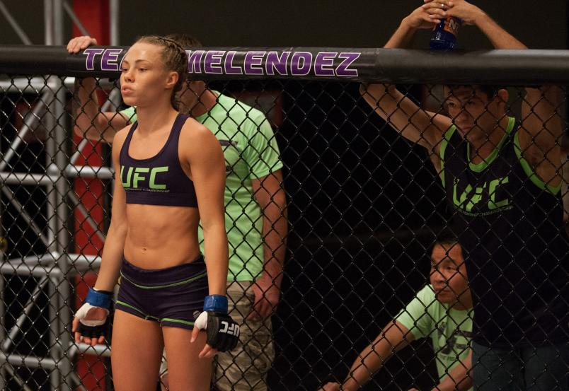 Rose Namajunas enters the Octagon before facing Joanne Calderwood in the quarterfinals during filming of season twenty of The Ultimate Fighter on August 6, 2014 in Las Vegas, Nevada. (Photo by Brandon Magnus/Zuffa LLC)