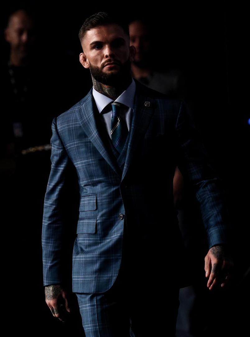Cody Garbrandt walks onto the stage during the UFC 217 Press Conference inside Madison Square Garden on November 2, 2017 in New York City. (Photo by Brandon Magnus/Zuffa LLC)