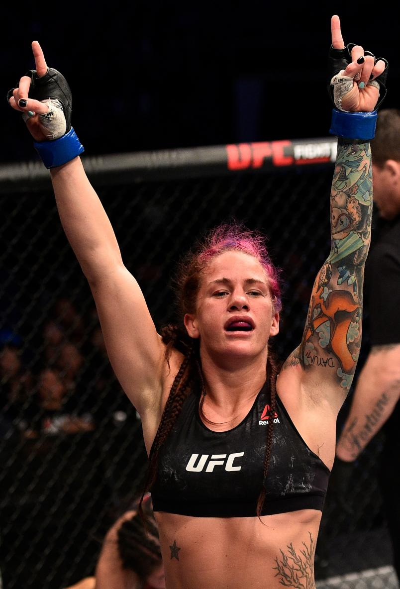 Gina Mazany reacts after the conclusion of her women's bantamweight bout against Wu Yanan of China ]during the UFC Fight Night event inside the Mercedes-Benz Arena on November 25, 2017 in Shanghai, China. (Photo by Brandon Magnus/Zuffa LLC via Getty Images)