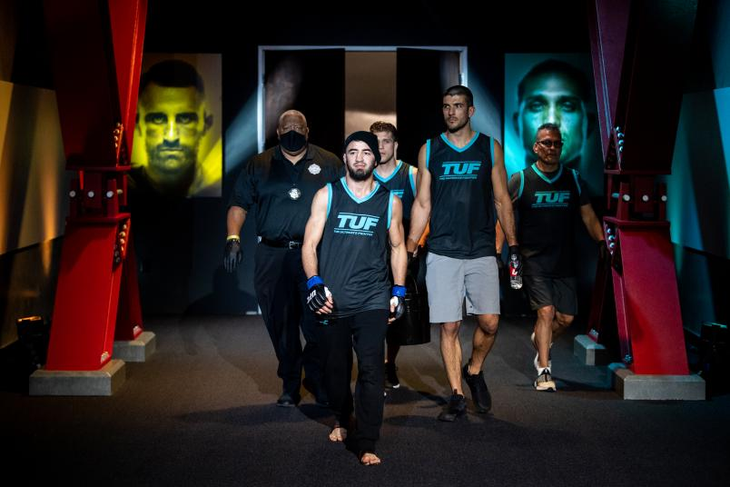Bantamweight Luidvik Sholinian of Team Ortega prepares to enter the Octagon for his fight against Mitch Raposo on The Return Of The Ultimate Fighter. (Photo by Chris Unger/Zuffa LLC)