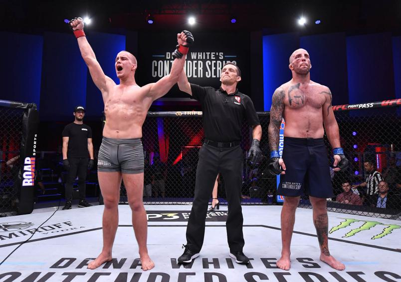 Dusko Todorovic celebrates after his decision victory over Teddy Ash in their middleweight bout during Dana White's Contender Series season three week 10 at the UFC Apex on August 27, 2019 in Las Vegas, Nevada. (Photo by Jeff Bottari/DWCS LLC/Zuffa LLC)