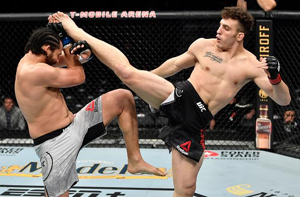 Aleksa Camur kicks Justin Ledet in their light heavyweight fight during the UFC 246 event at T-Mobile Arena on January 18, 2020 in Las Vegas, Nevada. (Photo by Jeff Bottari/Zuffa LLC)