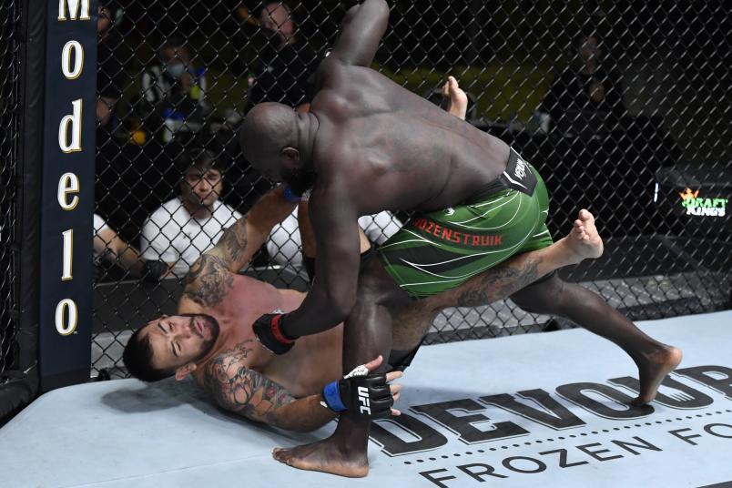 Jairzinho Rozenstruik of Suriname punches Augusto Sakai of Brazil in a heavyweight fight during the UFC Fight Night event at UFC APEX on June 05, 2021 in Las Vegas, Nevada. (Photo by Jeff Bottari/Zuffa LLC)