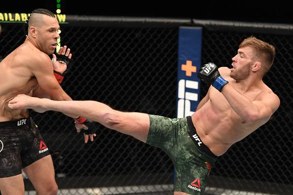 Dricus du Plessis of South Africa kicks Markus Perez of Brazil in their middleweight bout during the UFC Fight Night event inside Flash Forum on UFC Fight Island on October 11, 2020 in Abu Dhabi, United Arab Emirates. (Photo by Josh Hedges/Zuffa LLC)