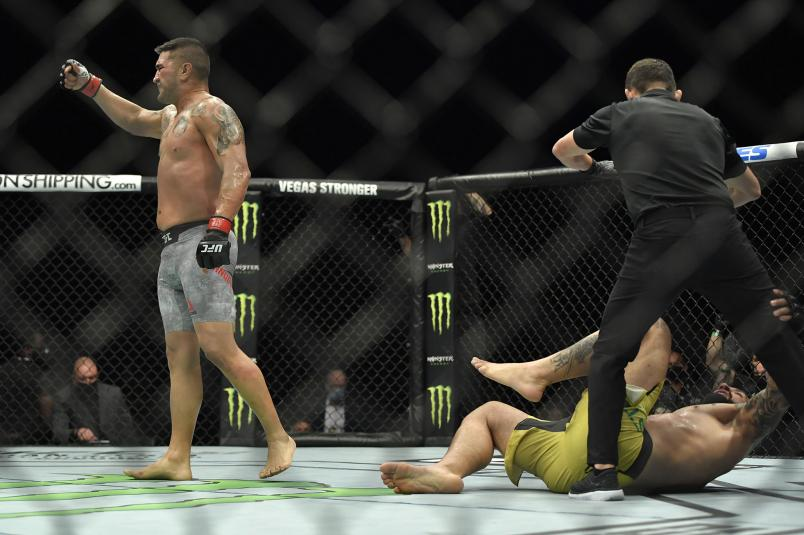 Ike Villanueva reacts after his knockout victory over Vinicius Moreira of Brazil during the UFC Fight Night event at Etihad Arena on UFC Fight Island on January 20, 2021 in Abu Dhabi, United Arab Emirates. (Photo by Chris Unger/Zuffa LLC)