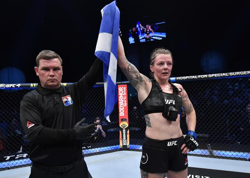Joanne Calderwood of Scotland reacts after her victory over Jessica Eye in a flyweight fight during the UFC 257 event inside Etihad Arena on UFC Fight Island on January 23, 2021 in Abu Dhabi, United Arab Emirates. (Photo by Jeff Bottari/Zuffa LLC)