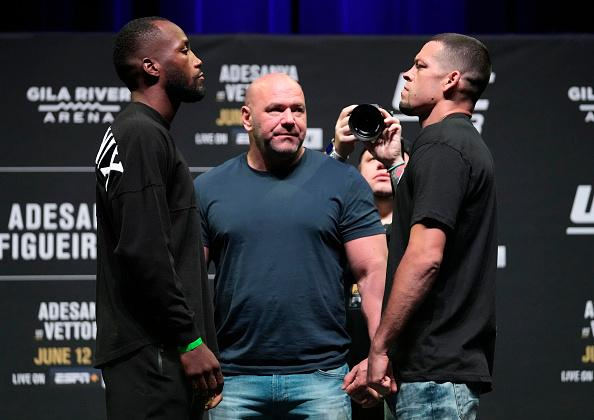 Opponents Leon Edwards of Jamaica and Nate Diaz face off during the UFC 263 press conference at Arizona Federal Theater on June 10, 2021 in Phoenix, Arizona. (Photo by Jeff Bottari/Zuffa LLC)
