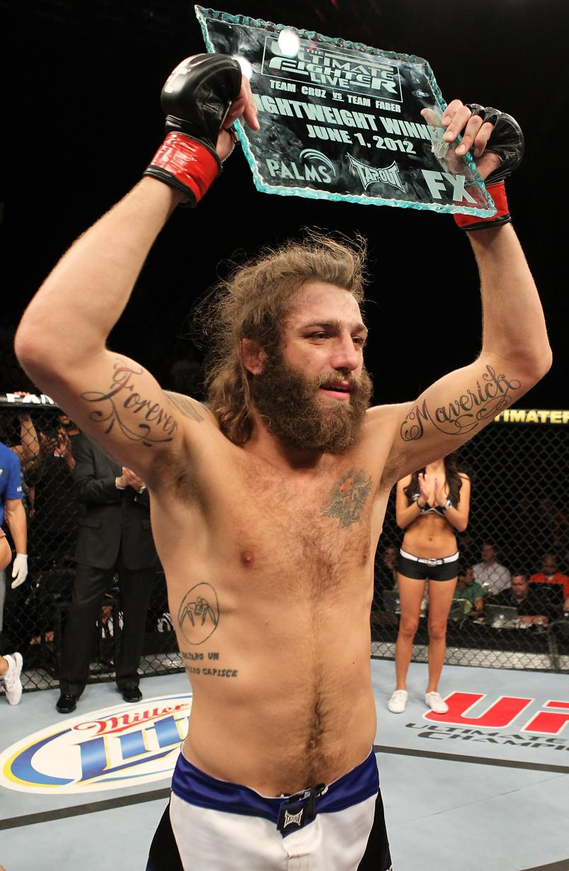Michael Chiesa holding the Ultimate Fighter trophy during The Ultimate Fighter Live Finale at the Pearl Theater at the Palms Casino Resort on June 1, 2012 in Las Vegas, Nevada. (Photo by Josh Hedges/Zuffa LLC)