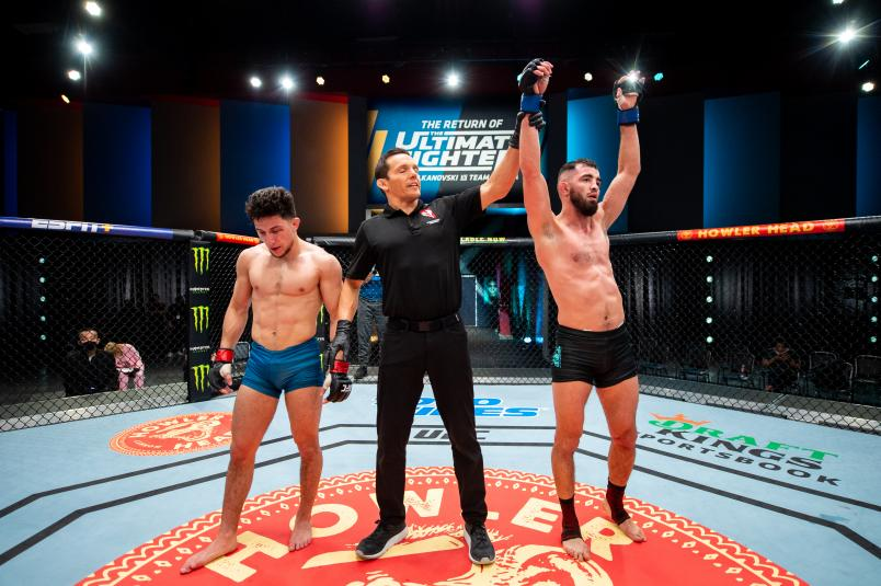 Bantamweights Luidvik Sholinian of Team Ortega has his hand raised after defeatedMitch Raposo of Team Volkanovski via unanimous decision during the first round of fights on The Return Of The Ultimate Fighter. (Photo by Chris Unger/Zuffa LLC)