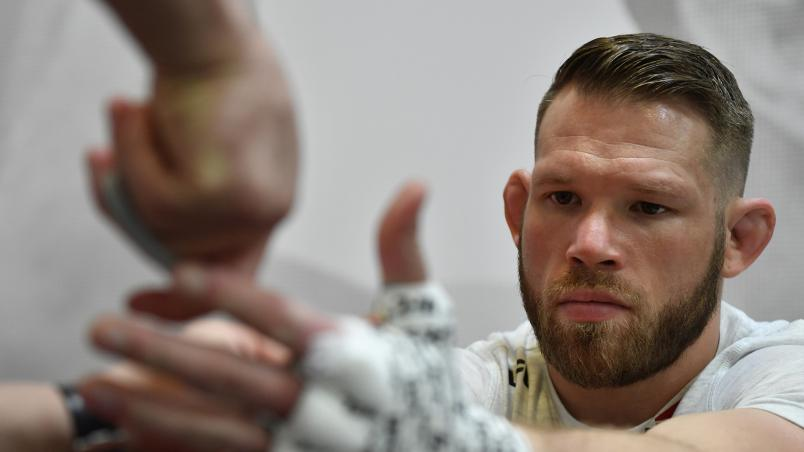 Jason Witt has his hands wrapped prior to his fight during the UFC Fight Night event at UFC APEX on March 13, 2021 in Las Vegas, Nevada. (Photo by Mike Roach/Zuffa LLC)