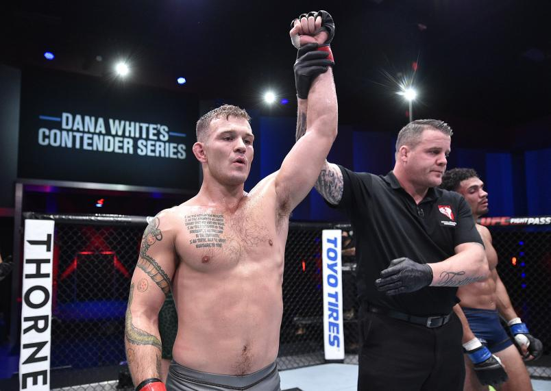 Orion Cosce reacts after his victory over Matt Dixon in a welterweight bout during week three of Dana White's Contender Series Season 4 at UFC APEX on August 18, 2020 in Las Vegas, Nevada. (Photo by Chris Unger/DWCS LLC/Zuffa LLC)