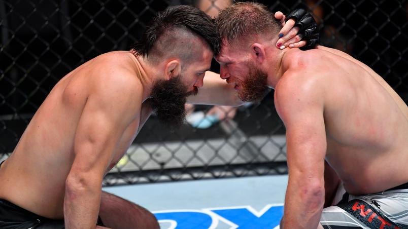 Bryan Barberena (L) and Jason Witt (R) react after their welterweight fight at UFC Fight Night: Hall vs Strickland in Las Vegas, Nevada on July 31, 2021. (Photo by Chris Unger/Zuffa LLC)