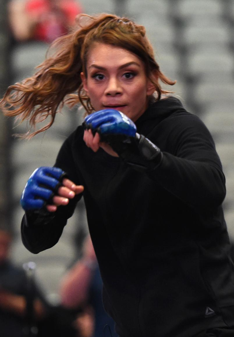 Nicco Montano works out for fans and media during the UFC 228 open workouts on September 5, 2018 in Dallas, Texas. (Photo by Josh Hedges/Zuffa LLC/Zuffa LLC via Getty Images)