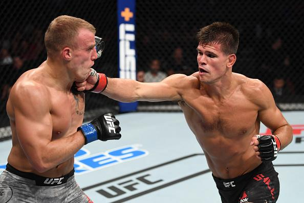 Mickey Gall punches Salim Touahri of Poland in their welterweight bout during the UFC Fight Night event at the Prudential Center on August 3, 2019 in Newark, New Jersey. (Photo by Josh Hedges/Zuffa LLC)