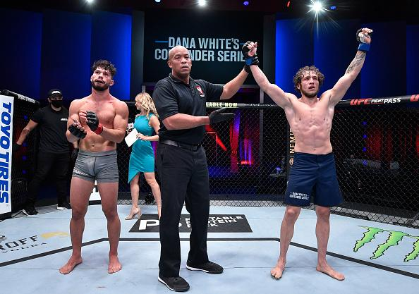 Melsik Baghdasaryan reacts after his victory over Dennis Buzukja in a featherweight bout during week five of Dana White's Contender Series season four at UFC APEX on September 01, 2020 in Las Vegas, Nevada. (Photo by Chris Unger/DWCS LLC/Zuffa LLC)