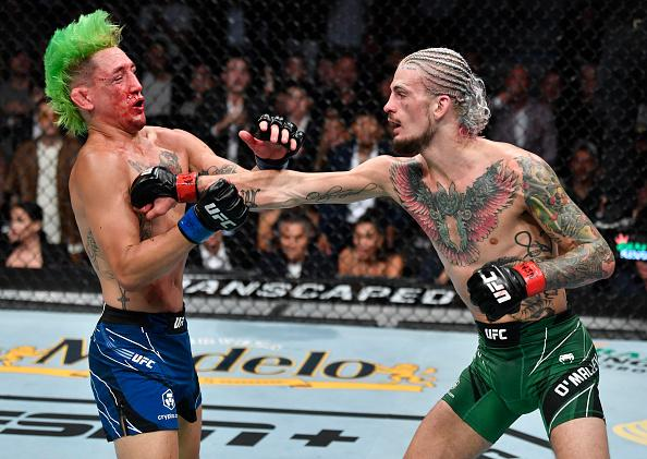 Sean O'Malley punches Kris Moutinho in their bantamweight fight during the UFC 264 event at T-Mobile Arena on July 10, 2021 in Las Vegas, Nevada. (Photo by Jeff Bottari/Zuffa LLC)