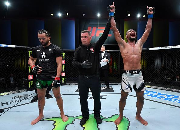 Raulian Paiva of Brazil reacts after his decision victory over Kyler Phillips in their bantamweight fight during the UFC Fight Night event at UFC APEX on July 24, 2021 in Las Vegas, Nevada. (Photo by Jeff Bottari/Zuffa LLC)