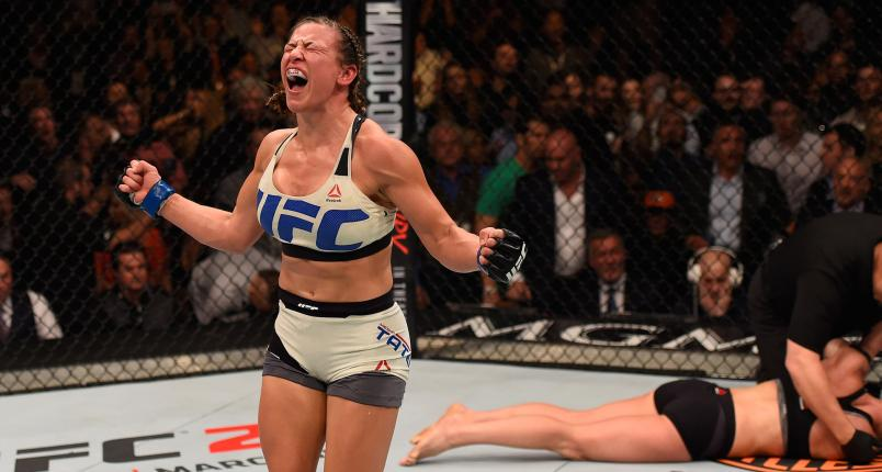 Miesha Tate reacts after her submission victory over Holly Holm in their UFC women's bantamweight championship bout during the UFC 196 event inside MGM Grand Garden Arena on March 5, 2016 in Las Vegas, Nevada. (Photo by Josh Hedges/Zuffa LLC/Zuffa LLC via Getty Images)