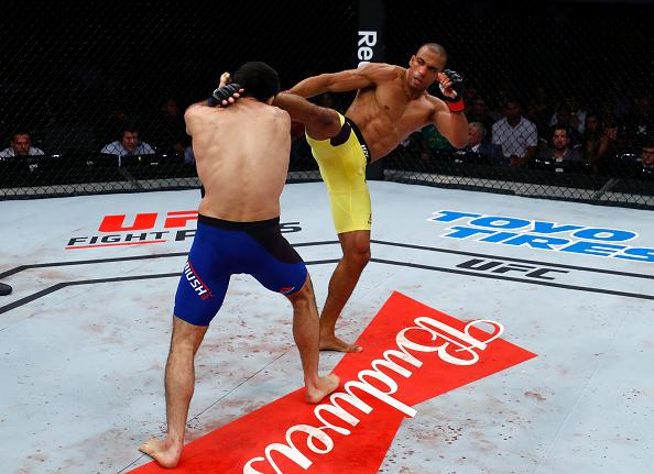 Edson Barboza of Brazil kicks Beneil Dariush of Iran in their lightweight bout during the UFC Fight Night event at CFO - Centro de Formaco Olimpica on March 11, 2017 in Fortaleza, Brazil. (Photo by Buda Mendes/Zuffa LLC)