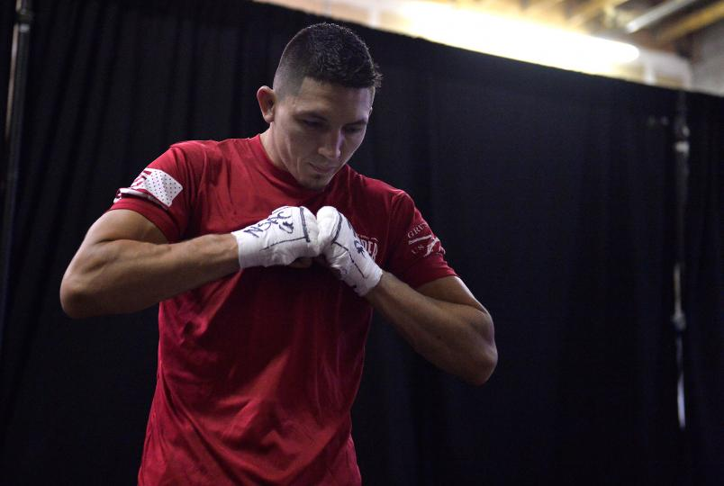 Vince Morales warms up backstage before facing Domingo Pilarte in their bantamweight fight during Dana White's Tuesday Night Contender Series at the TUF Gym on July 17, 2018 in Las Vegas, Nevada. (Photo by Chris Unger/DWTNCS LLC)