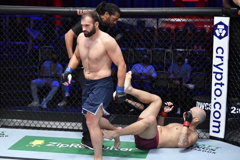 Azamat Murzakanov of Russia reacts after his knockout victory over Matheus Scheffel of Brazil in their light heavyweight fight during Dana White's Contender Series season five week one at UFC APEX on August 31, 2021 in Las Vegas, Nevada. (Photo by Chris Unger/Zuffa LLC)