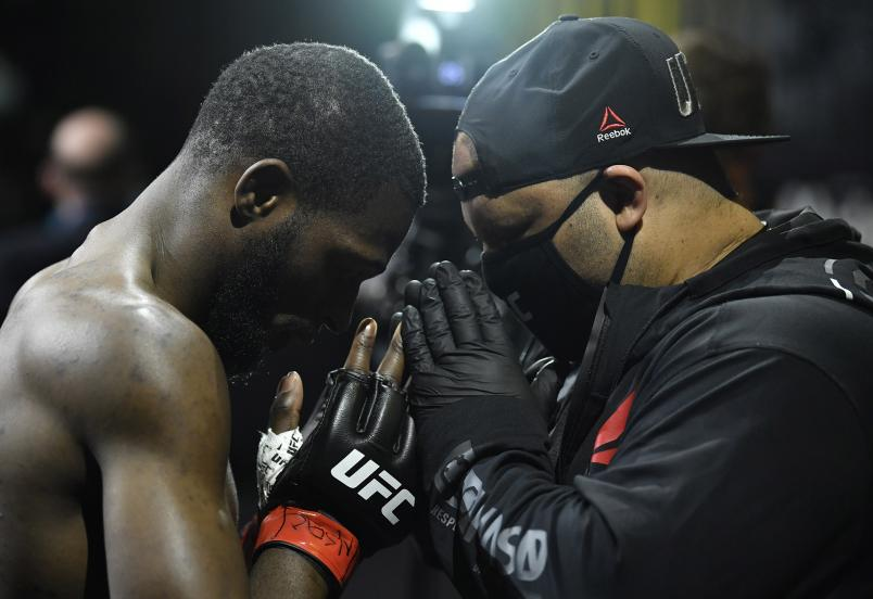Montel Jackson prepares to fight Jesse Strader in their bantamweight fight during the UFC Fight Night event at UFC APEX on March 20, 2021 in Las Vegas, Nevada. (Photo by Chris Unger/Zuffa LLC)