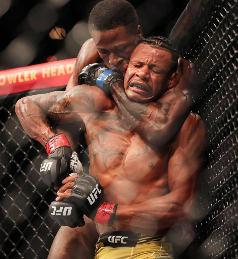 Randy Brown of Jamiaica forces Alex Oliveira of Brazil to tap out during UFC 261 at VyStar Veterans Memorial Arena on April 24, 2021 in Jacksonville, Florida. (Photo by Alex Menendez/Getty Images)