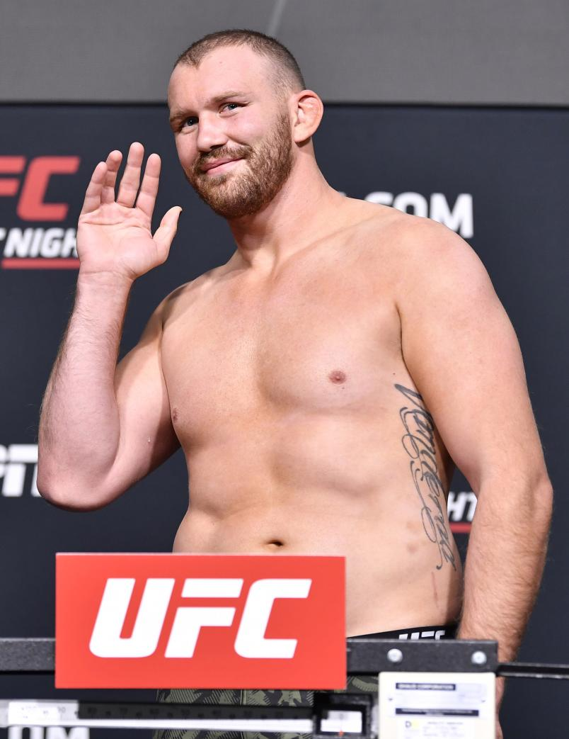 Jared Vanderaa poses on the scale during the UFC Fight Night weigh-in at UFC APEX on May 21, 2021 in Las Vegas, Nevada. (Photo by Chris Unger/Zuffa LLC)