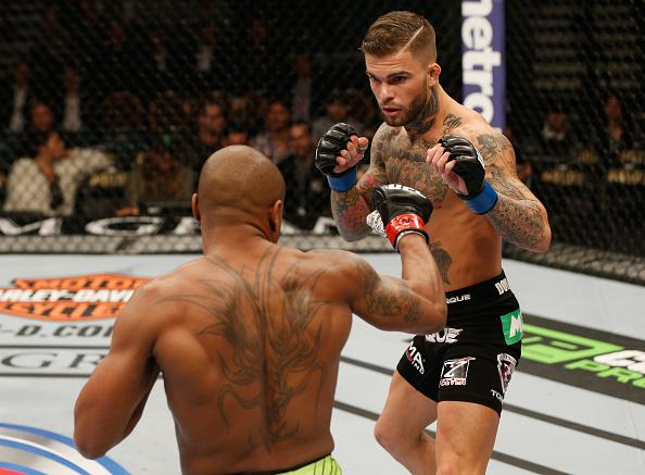 LAS VEGAS, NV - JANUARY 03:  (R-L) Cody Garbrandt squares off with Marcus Brimage  in their bantamweight bout during the UFC 182 event at the MGM Grand Garden Arena on January 3, 2015 in Las Vegas, Nevada.  (Photo by Josh Hedges/Zuffa LLC/Zuffa LLC via Ge