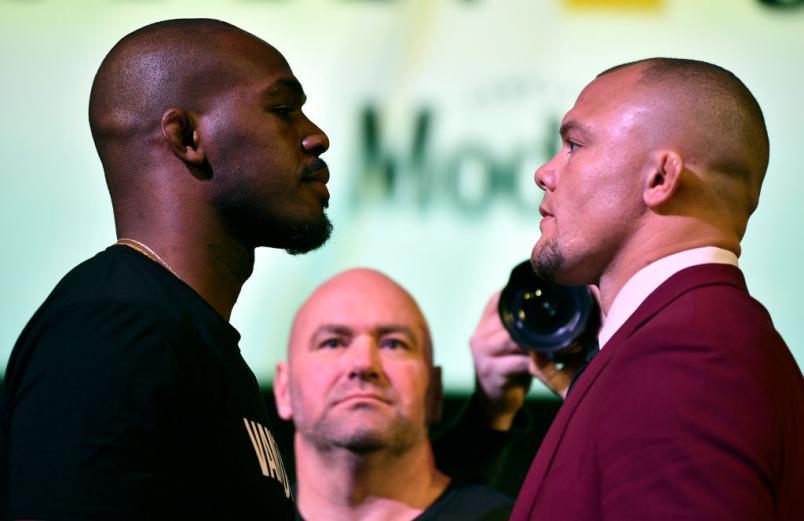 UFC 235 press conference face off Jon Jones vs Anthony Smith