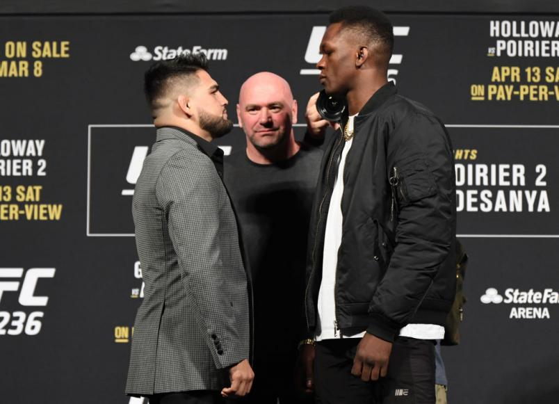 Opponents Kelvin Gastelum and Israel Adesanya face off during the UFC 236 Press Conference