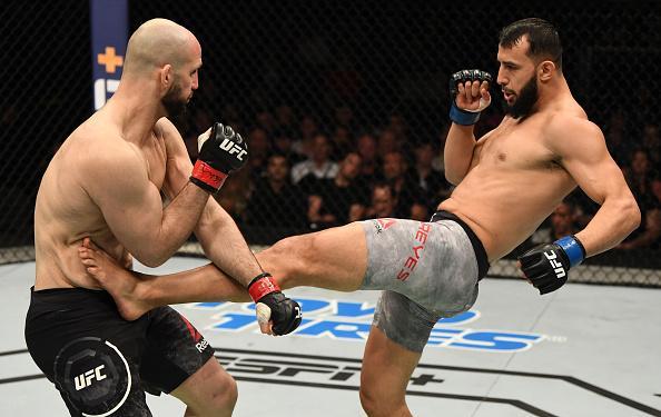 Dominick Reyes kicks Volkan Oezdemir of Switzerland in their light heavyweight bout during the UFC Fight Night