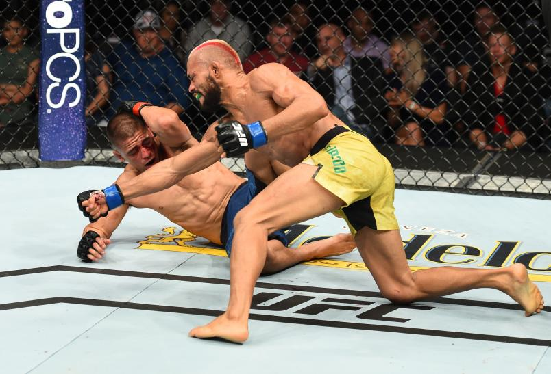 Deiveson Figueiredo of Brazil punches John Moraga in their flyweight fight during the UFC Fight Night event at Pinnacle Bank Arena on August 25, 2018 in Lincoln, Nebraska. (Photo by Josh Hedges/Zuffa LLC/Zuffa LLC via Getty Images)