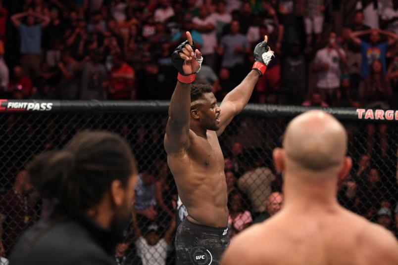 Francis Ngannou of Cameroon reacts after defeating Junior Dos Santos