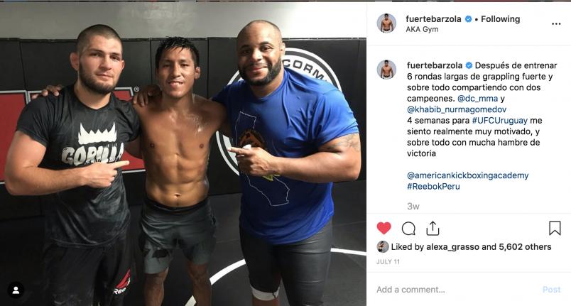 Enrique Barzola instagram photo with Khabib Nurmagomedov and Daniel Cormier