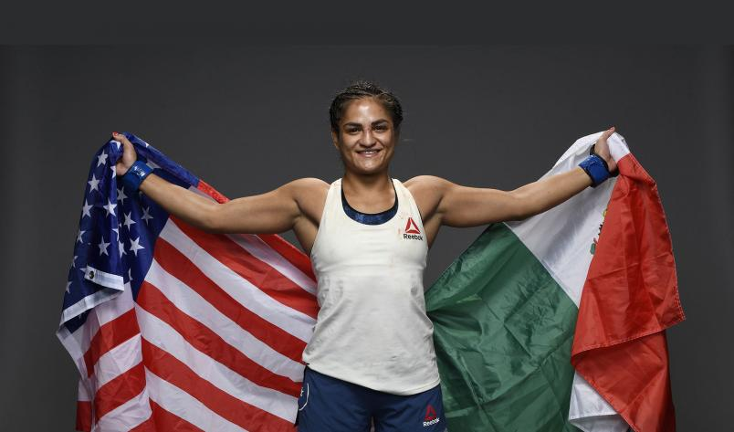 Cynthia Calvillo poses for a post fight portrait backstage during the UFC Fight Night event at UFC APEX