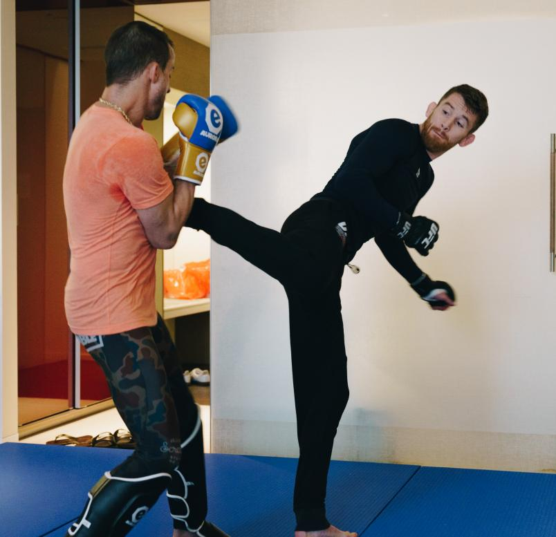 Cory Sandhagen trains ahead of his main event bout on UFC Fight Island, Yas Island, Abu Dhabi.