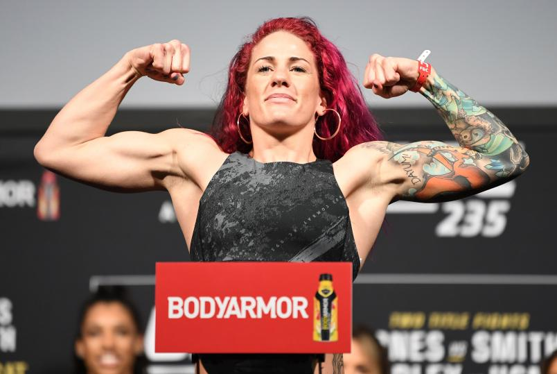 Gina Mazany poses on the scale during the UFC 235 weigh-in at T-Mobile Arena on March 01, 2019 in Las Vegas, Nevada. (Photo by Jeff Bottari/Zuffa LLC/Zuffa LLC via Getty Images).jpg