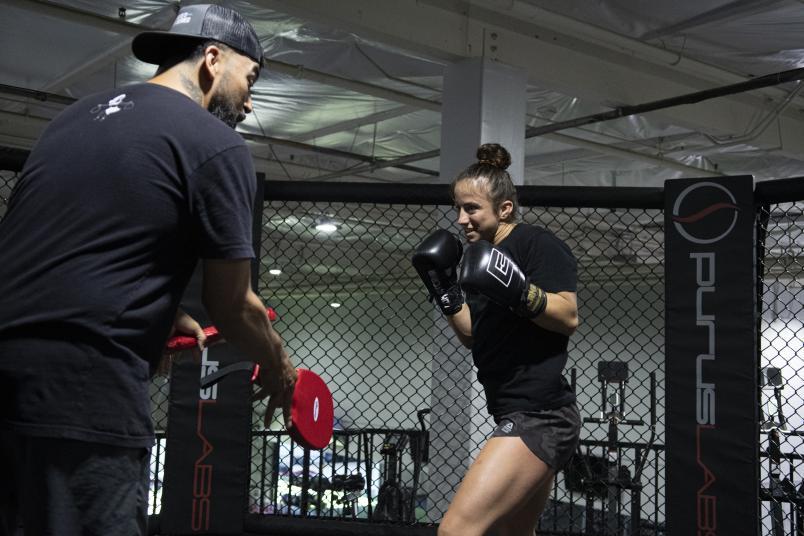 UFC flyweight Maycee Barber prepares for UFC Fight Night: Sandhagen vs Dillashaw at Team Alpha Male in Sacramento, California. (Photo by Juan Cardenas/Zuffa LLC)