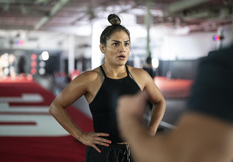 Cynthia Calvillo training for UFC 266