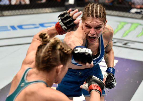 LAS VEGAS, NV - DECEMBER 01:  (R-L) Lauren Murphy punches Barb Honchak in their women's flyweight bout during the TUF Finale event inside Park Theater on December 01, 2017 in Las Vegas, Nevada. (Photo by Jeff Bottari/Zuffa LLC)