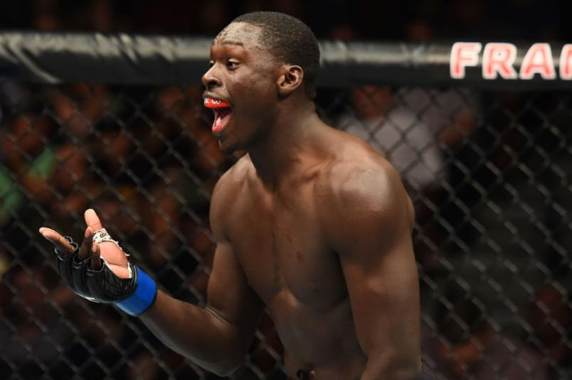 AUSTIN, TX - FEBRUARY 18:  Curtis Millender reacts after defeating Thiago Alves of Brazil in their welterweight bout during the UFC Fight Night event at Frank Erwin Center on February 18, 2018 in Austin, Texas. Millender won by KO.  (Photo by Josh Hedges/