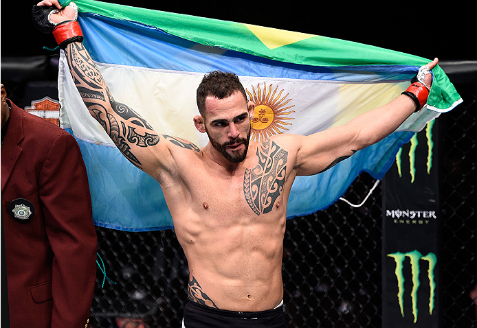 Santiago Ponzinibbio celebrates his win over Andreas Stahl in their welterweight bout during the UFC Fight Night event at The Chelsea at the Cosmopolitan of Las Vegas on December 10, 2015 in Las Vegas, Nevada. (Photo by Jeff Bottari/Zuffa LLC)