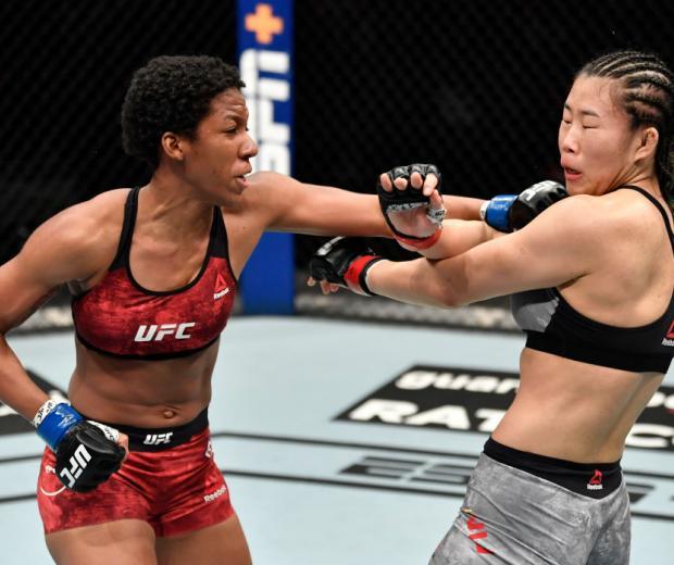 Joselyne Edwards of Panama punches Wu Yanan of China in a bantamweight bout during the UFC Fight Night event at Etihad Arena on UFC Fight Island on January 17, 2021 in Abu Dhabi, United Arab Emirates. (Photo by Jeff Bottari/Zuffa LLC)