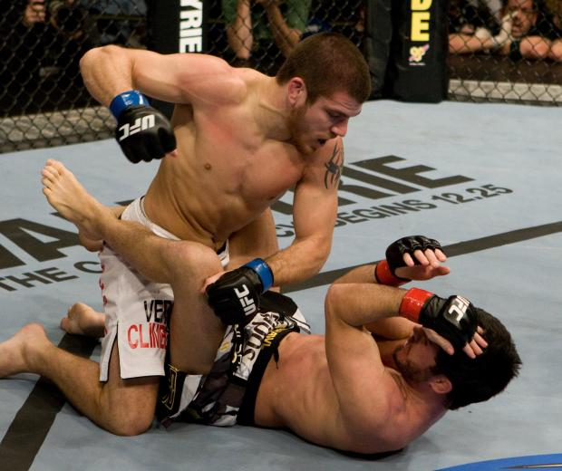 FAYETTEVILLE, NC - DECEMBER 10: Jim Miller (white shorts) def. Matt Wiman (black shorts) - Unanimous decision during the UFC Fight for the Troops at Crown Coliseum on December 10, 2008 in Fayetteville, North Carolina. (Photo by Josh Hedges/Zuffa LLC via Getty Images)