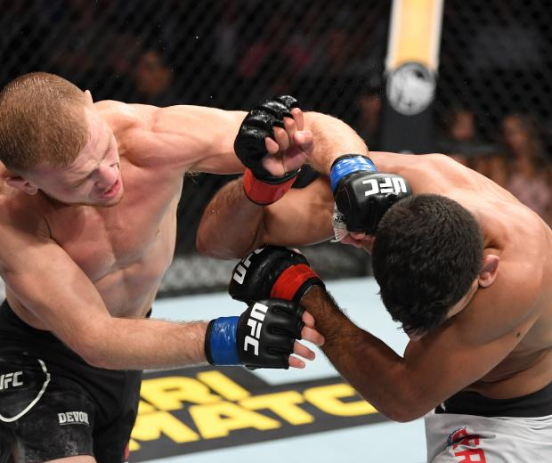 ANAHEIM, CALIFORNIA - AUGUST 17: (L-R) Casey Kenney punches Manny Bermudez in their catchweight bout during the UFC 241 event at the Honda Center on August 17, 2019 in Anaheim, California. (Photo by Josh Hedges/Zuffa LLC)
